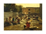 Women Washing in River Giclee Print by Filippo Palizzi