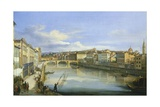 Lungarno in Florence Giclee Print by Giovanni Signorini