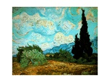 Wheat Field with Cypresses, 1889 Giclee Print by Vincent van Gogh