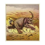 Jim Bold and an Enraged Elephant Giclee Print by Ernest Henry Griset