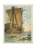Columbus Sailing Through the Sargasso Sea Giclee Print by Andrew Melrose