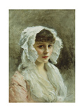 Portrait of a Lady in a White Bonnet Giclee Print by Gustave Jacquet