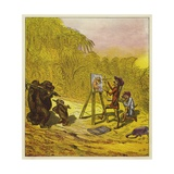 The Brothers Bold Encounter a Family of Gorillas Giclee Print by Ernest Henry Griset
