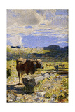 Brown Cow Drinking from a Trough, 1892 Giclee Print by Giovanni Segantini