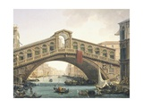 The Rialto Bridge in Venice Giclee Print by Giuseppe Borsato