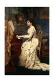 A Young Girl Playing a Piano, 1891 Giclee Print by Charles Edouard De Beaumont