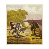 John Bold Painting the Lion Giclee Print by Ernest Henry Griset