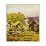 John Bold's Encounter with a Lion Giclee Print by Ernest Henry Griset