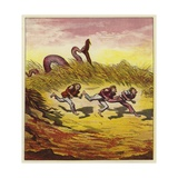 The Three Mariners Fleeing a Giant Snake Giclee Print by Ernest Henry Griset