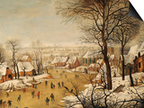 A Winter Landscape with Skaters and a Bird Trap Poster by Pieter Bruegel the Elder