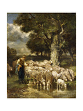A Shepherd Tending His Flock Giclee Print by Charles Emile Jacque