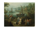 Promenade at Port Giclee Print by Jan Frans Beschey