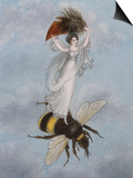 A Fairy Carrying a Feather Standing on a Bee Posters by Amelia Jane Murray