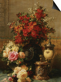 Still Life of Roses and Other Flowers Poster by Jean Baptiste Claude Robie