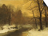 A Winter River Landscape Poster by Anders Andersen-Lundby