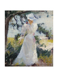 My Wife, Emeline, in a Garden Giclee Print by Edmund Charles Tarbell