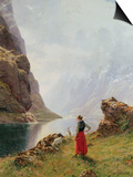 A Girl with Goats by a Fjord Art by Hans Dahl