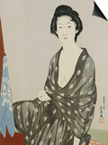 A Beauty in a Black Kimono with White Hanabishi Patterns Seated Before a Mirror Prints by Hashiguchi Goyo