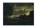 Village in Moonlight Giclee Print by Aert van der Neer