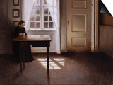 A Woman Sewing in an Interior Prints by Vilhelm Hammershoi