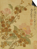 Plum Blossom and Camelias Lámina por Yun Shouping