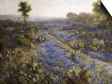 Field of Texas Bluebonnets and Prickly Pear Cacti Print by Julian Robert Onderdonk