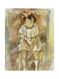 Little Girl in Pink, 1926 Gicleetryck av Jules Pascin