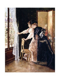 Watching the Fiance Pass By, 1886 Giclee Print by Alfred Emile Stevens