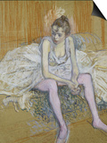 A Seated Dancer with Pink Stockings, 1890 Prints by Henri de Toulouse-Lautrec
