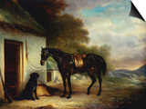 Mr Stuart's Favourite Hunter, Vagabond and His Flatcoated Retriever, Nell by a Cottage Door Prints by Sr, John Ferneley