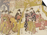 Three Groups of Courtesans with Their Shinzo and Kamuro Poster by Kitagawa Utamaro
