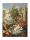 Nymphs Bathing at a Pool by a Loggia Giclee Print by Jean-Baptiste Joseph Pater