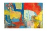 Abstract Expressionist in Red, Yellow and Blue Giclee Print by  English School