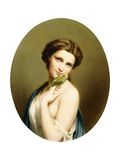 A Young Beauty with a Parakeet Giclee Print by Fritz Zuber-Buhler