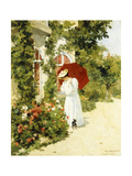 The Red Parasol, 1891 Giclee Print by Rene Joseph Gilbert