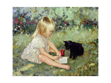 Holly in the Garden with Suki Giclee Print by Paul Gribble