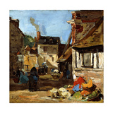 Honfleur, Saint-Catherine Market Place, 1867-1870 Giclee Print by Eugène Boudin