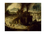 Burning of Troy, 1603 Giclee Print by Pieter Schoubroeck