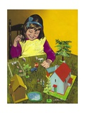 Girl with Toy Farm Giclee Print by Jesus Blasco