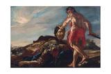 David Holding Goliah's Head Giclée-tryk af Giovanni Lanfranco