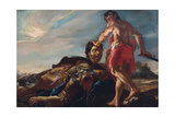 David Holding Goliah's Head Giclee Print by Giovanni Lanfranco