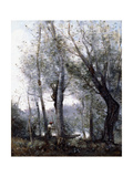 A Barge Passing Beind Trees on the Shore, 1865-70 Giclee Print by Jean Baptiste Camille Corot