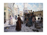 Women at Fountain Giclee Print by Adolfo Belimbau