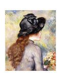 Young Girl Holding a Bouquet of Tulips, C.1878 Giclee Print by Pierre-Auguste Renoir