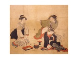 Three Drunken Women Giclee Print by Isoda Koryusai