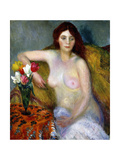 Nude with Tulips Giclee Print by William James Glackens