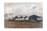 Sheds in a Railway Station - Construction Yard Giclee Print by Giuseppe De Nittis