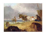 Donkeys and Figures on a Beach Giclee Print by Julius Caesar Ibbetson