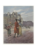Flower Seller in Pont-Neuf Giclee Print by Georges Jules Auguste Cain