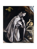 Saint Francis Kneeling in Meditation Giclee Print by El Greco